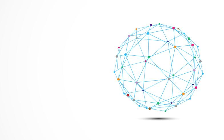 Marco azul abstracto del alambre con nodo colorido de la conexión de los puntos. Concepto de tecnología y ciencia.