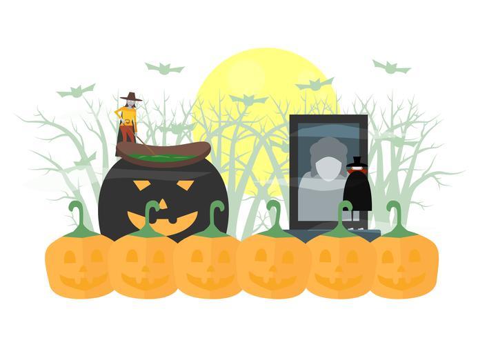 Mínima cena assustadora para o dia de halloween, 31 de outubro, com monstros que incluem drácula, mulher bruxa. Ilustração vetorial, isolada no fundo branco.