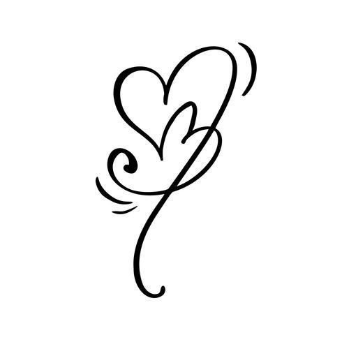 Dibujado a mano dos signos de amor del corazón. Vector de caligrafía romántica del día de san valentín. Símbolo del icono de Concepn para la camiseta, tarjeta de felicitación, boda del cartel. Ilustración de elemento plano de diseño