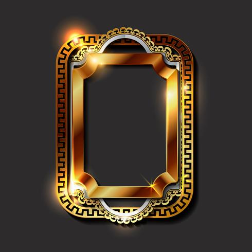 Decorative vintage golden frames and borders vector
