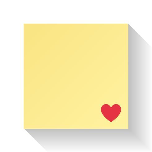 Liefdesbriefpapier met rood hart. Illustratie vector. Valentijnsdag en bruiloft concept. Opmerking en berichtthema. Abstract en uitnodigingsthema. Witte en gele achtergrond