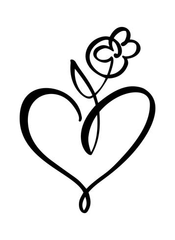 Disegnato a mano due cuore e fiore segno d'amore. Vettore romantico dell'illustrazione di calligrafia del giorno di S. Valentino. Simbolo dell'icona di Concepn per t-shirt, cartolina d'auguri, matrimonio poster