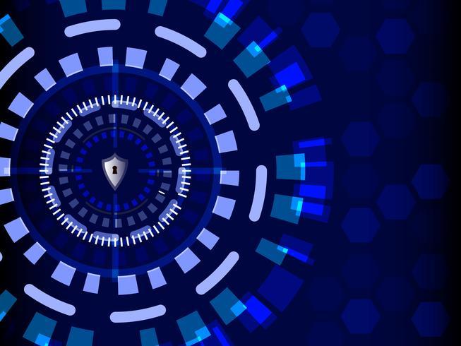 Blå Cyber Security med skyddsskydd, teknik och informationskoncept