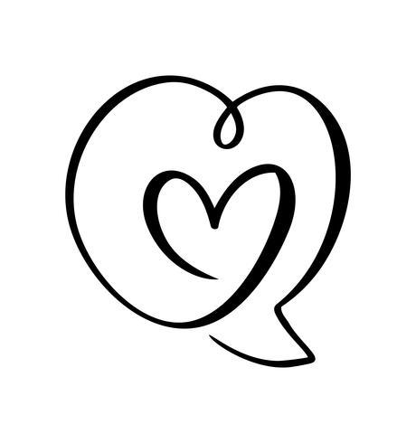 Icono del amor del corazón y símbolo del discurso de la burbuja Logo Elemento del vector del día de San Valentín. Símbolo del icono de Concepn para la camiseta, tarjeta de felicitación, boda del cartel