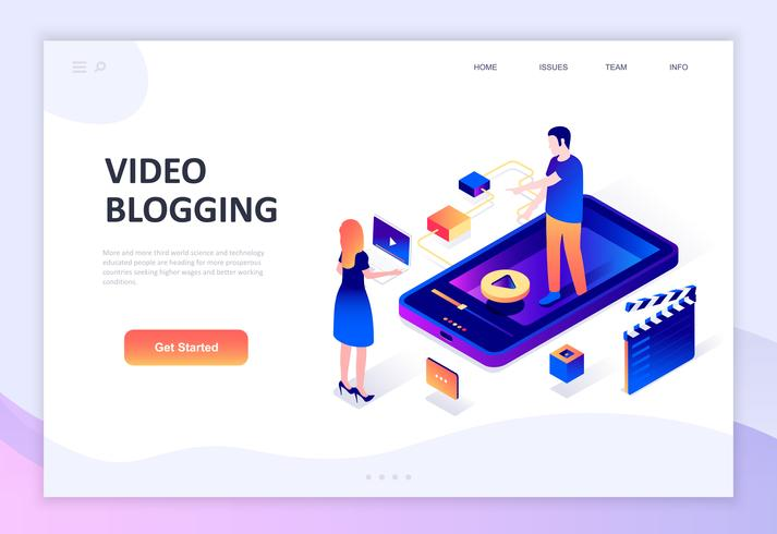 Modern flat design isometric concept of Video Blogging