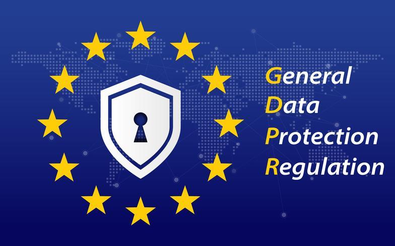 Regulamento Geral de Proteção de Dados denominado GDPR 2018/2019. Bandeira da UE. Transformação digital e tema de segurança. Ilustração vetorial
