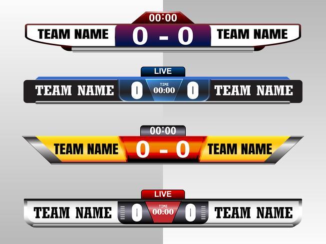 Scoreboard Digital Skärm Grafisk Mall för Broadcasting av fotboll, fotboll eller futsal, illustration vektor design mall för fotboll ligan match. EPS10 vektor fildesign