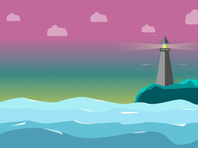 Light house in the sea with the sweetly sky color