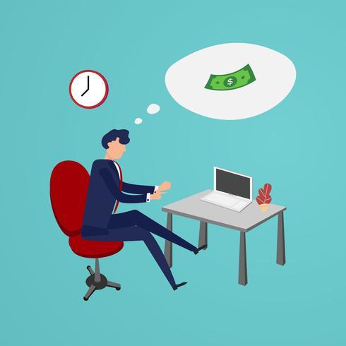 Uomo d'affari che lavora fuori tempo per fare soldi in ufficio. Design piatto e concept design di carattere. Temi aziendali e persone.