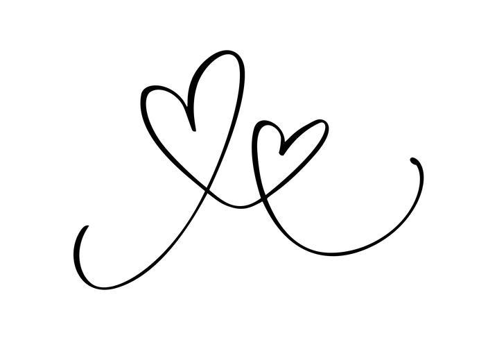 Disegnata a mano due cuore segno d'amore. Vettore di calligrafia romantica del giorno di San Valentino. Simbolo dell'icona di Concepn per t-shirt, cartolina d'auguri, matrimonio poster. Design illustrazione piatta elemento