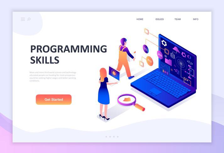 Modern flat design isometric concept of Programming Skills
