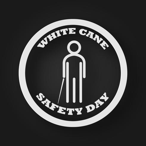 Icono de la gente del día de la seguridad del bastón blanco con palo como concepto de ciegos y discapacidad. Fondo de ilustración vectorial