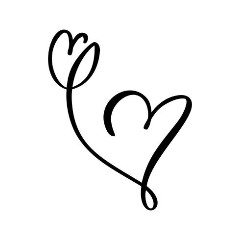 Hand drawn two Heart and tulip flower love sign. Romantic calligraphy illustration vector of valentine day. Concepn icon symbol for t-shirt, greeting card, poster wedding