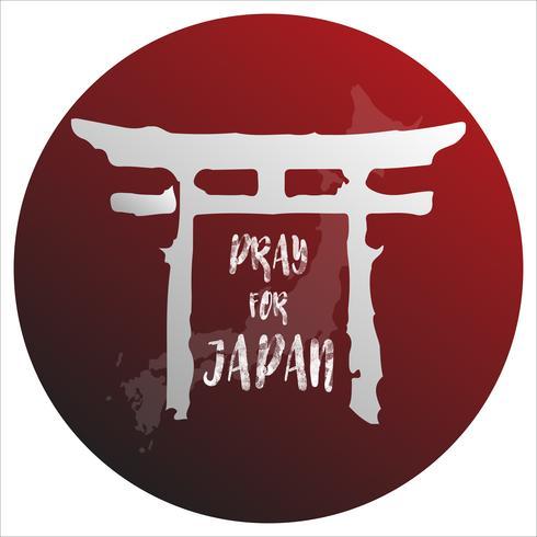 Bete für Japan. Abstraktes Hintergrundkonzept. Roter Punkt lokalisierter weißer Hintergrund mit japanischer Karte.