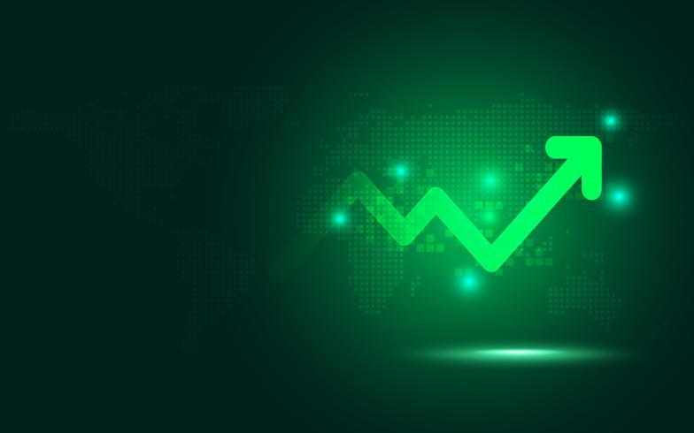 Fondo digital futurista de la tecnología del extracto de la transformación de la carta de la flecha del aumento verde. Big data y crecimiento de negocios. Indicador de stock e inversión de la economía comercial establecida. Ilustración vectorial vector