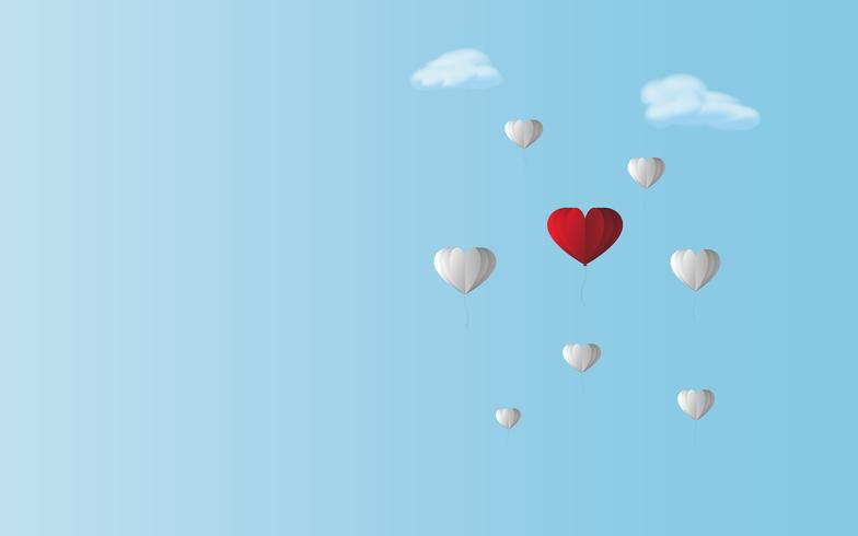 Love red heart balloon between white balloons in blue sky