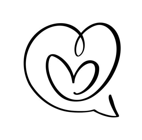 Icona di amore cuore e simbolo discorso bolla Logo Elemento vettoriale del giorno di San Valentino. Simbolo dell'icona di Concepn per t-shirt, cartolina d'auguri, matrimonio poster