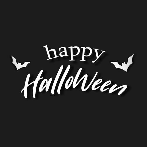 Happy Halloween white letter on black background. Invitation letter and Message banner concept. Holiday and Ghost theme. Vector illustration.