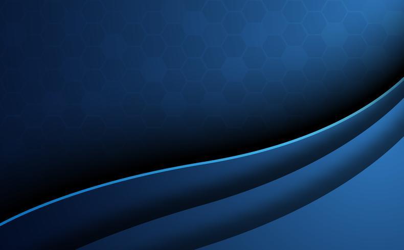 Fond en nid d'abeille abstrait bleu avec le premier plan de la courbe. Concept de papier peint et de texture. Thème minimal. Illustration vectorielle Style vague et ombre