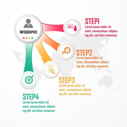 Éléments pour le vecteur infographique. Concept de design avec 4 options, pièces, étapes ou processus, Modèle de diagramme, Graphique, Présentation. Présentation d'affaires