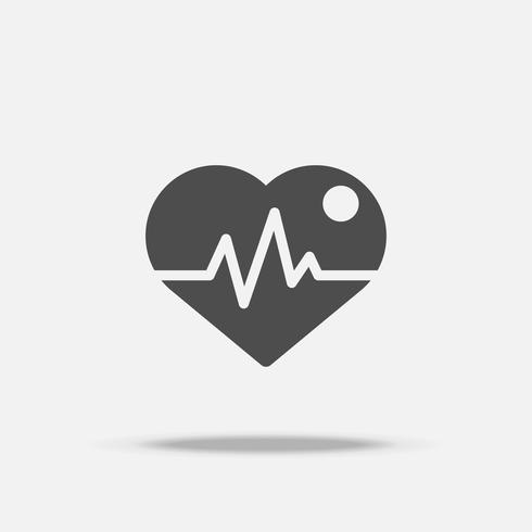 Heart with pulse icon. Flat design  vector with shadow. Black theme. Flat design vector with shadow on isolated white background. Black color and monocrome theme.
