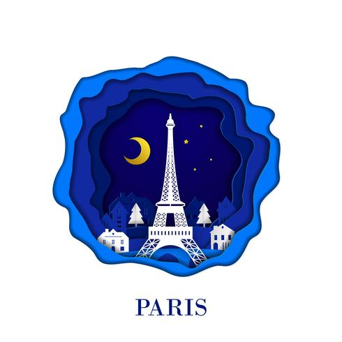 PARIS city of France in digital craft paper art. Night scene. Travel and destination landmark concept. Papercraft style vector