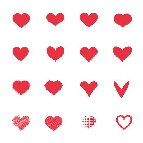 Rote Herzikonen eingestellt. Liebe und romantisches Konzept. Paare und Liebhaber-Konzept. Valentinstag-Thema. vektor