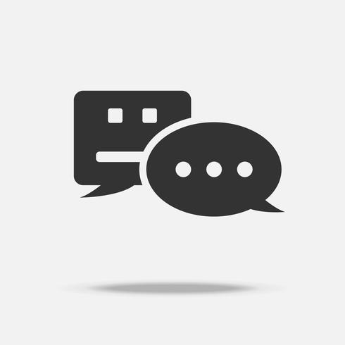 Chatbot notification bubble alert messenger icon with personal user communication technology. Push notification digital transformation system concept. Black white flat design symbol graphic vector