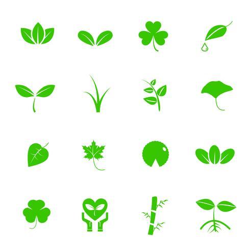 Plant en blad vector pictogramserie. Natuur en geologie concept. Energiebesparend concept. Geïsoleerde witte achtergrond