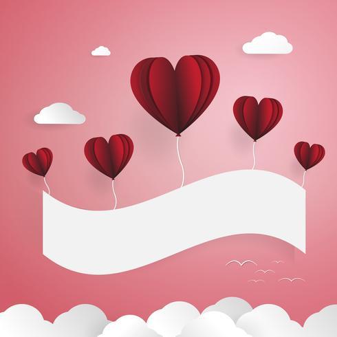 Rode ballonnen met Witboek banner. Wolken en vogels elementen. Liefde en Valentijnsdag concept. Papierkunst en papier knippen thema.