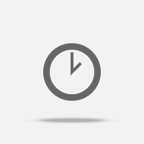 Icono de vector de diseño plano de reloj con sombra