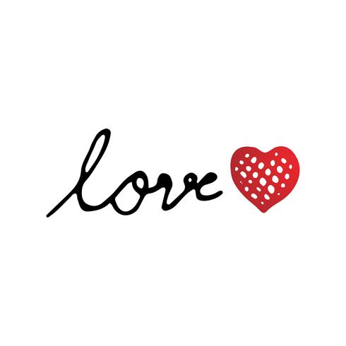 Love text with red heart design vector for Valentines day event and festival. Love and Happiness concept. Font letter and text theme. Hand writing and drawing text for special holiday