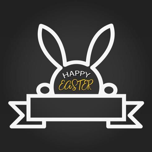 Modello di Pasqua felice con nastro spazio vuoto e coniglio su sfondo scuro. Illustrazione vettoriale Layout di design per biglietto d'invito, biglietto di auguri, poster banner e buono regalo. Lavagna nera