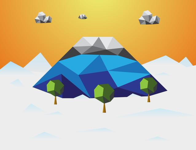 Mountain in winter Low poly background. Mountain and cloud and trees in component. Nature and Landscape concept. Abstract and Background concept. Environment and tropical climate theme. Fujisan Japan vector