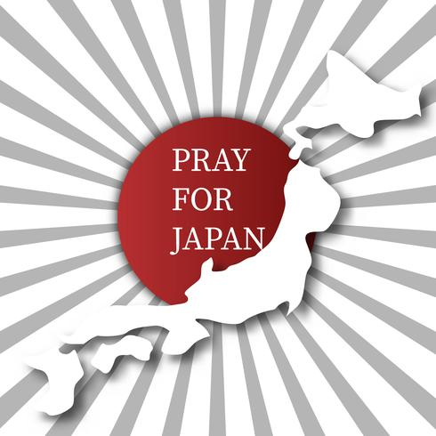 Pray for Japan. Abstract background concept. Red spot white grey sun burst background. For advertising making donate of earthquake flood and tsunami in Hokkaido Kumamoto city in Japan map vector