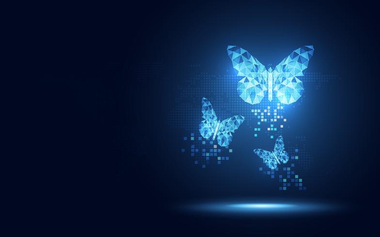 Fondo lowpoly azul futurista de la tecnología del extracto de la mariposa. Inteligencia artificial de transformación digital y concepto de big data. Concepto de evolución de la comunicación de la red de Internet cuántica de negocios