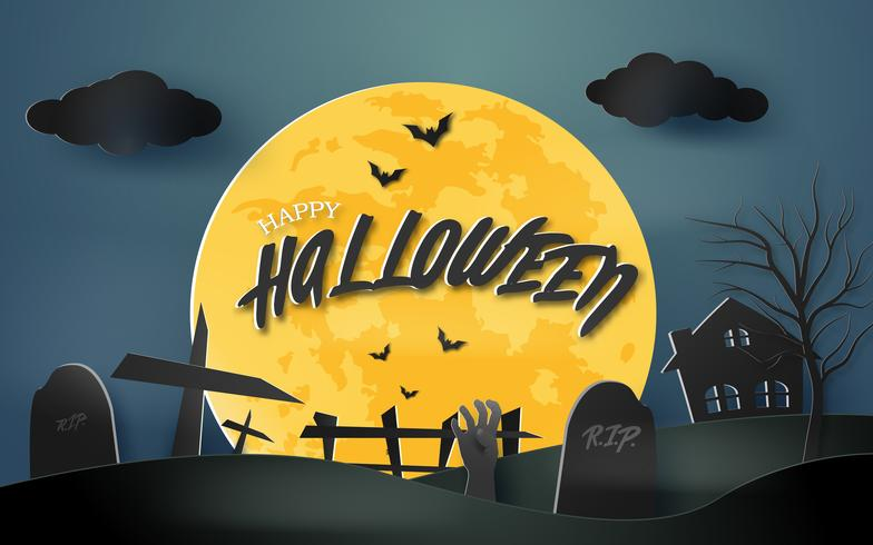 Happy Halloween Spooky Paper Art Background With Haunted