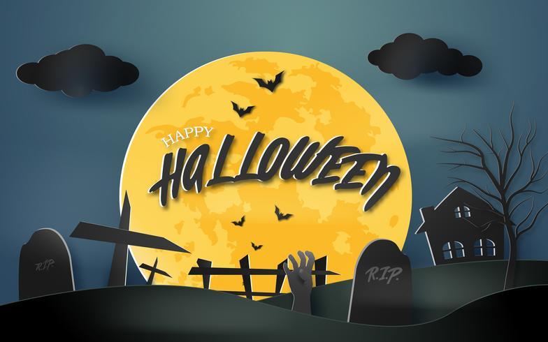 Glad Halloween spöklik papperskonst bakgrund med hemsökt hus och kyrkogård tapeter. Silhouette origami semester och religiösa av skräck digitala hantverk för firande och dekoration inbjudningskort