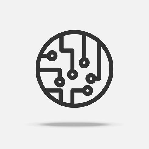 Vettore dell'icona del circuito. Icona linea sottile. Tecnologia quantistica e concetto di trasformazione digitale.