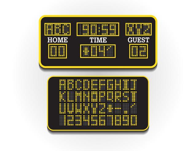 Tablero de puntuación digital para información deportiva. Ilustración vectorial Marcador de fútbol o fútbol. Gran cartelera digital del concepto de estadio.