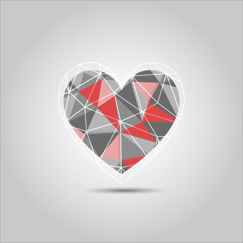 Red and grey heart Shape Polygon abstract vector