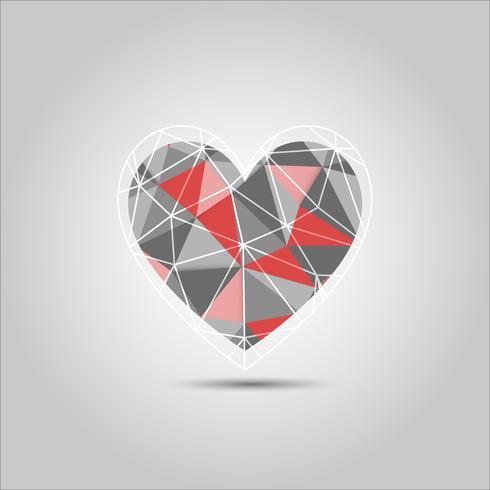 Roter und grauer Herz Form-Polygonzusammenfassungsvektor
