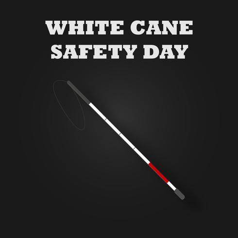 Witte rieten veiligheidsdag met stok en rood gestreept voor gehandicapten. Blind en handicap concept. Vector illustratie achtergrond