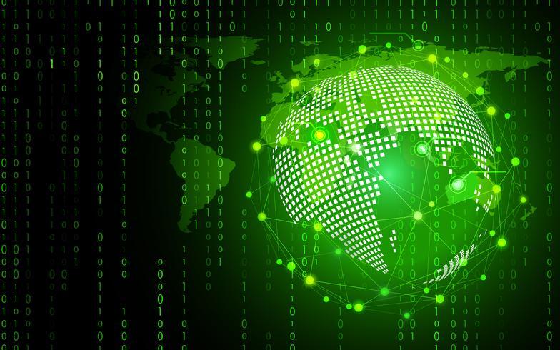Groene technologiecirkel en computerwetenschaps abstracte achtergrond met binaire codematrijs. Bedrijf en verbinding. Futuristisch en industrie 4.0-concept. Internet cyber en netwerkthema.