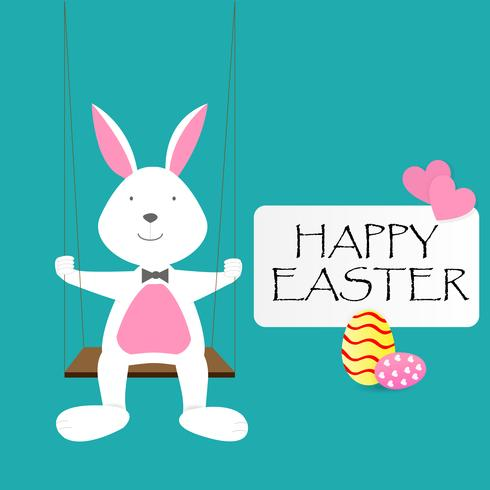 Happy Easter Day greeting text with Rabbit, Eggs and pink hearts