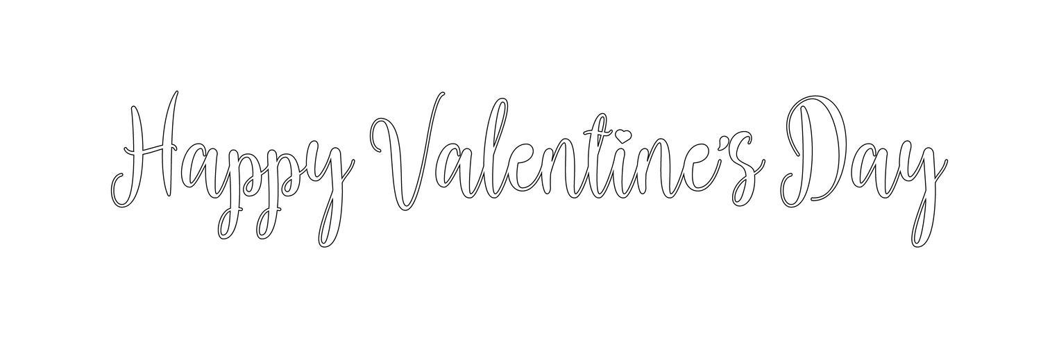 Feliz día de San Valentín diseño de letras de vacaciones. Línea negra texto de San Valentín con fuente de caligrafía de script de corazón. Ilustración vectorial