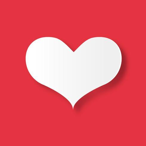 Corazón blanco sobre fondo rojo. Día de San Valentín y el amor del concepto de pareja. Tema del arte de papel digital. vector