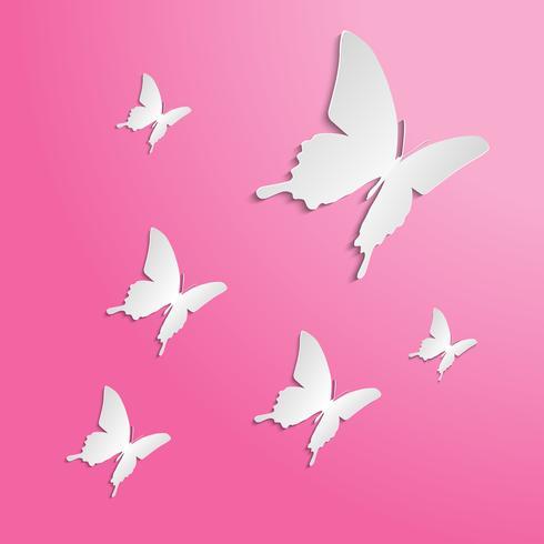 Schmetterlings-Papier geschnitten auf den Farbhintergrund