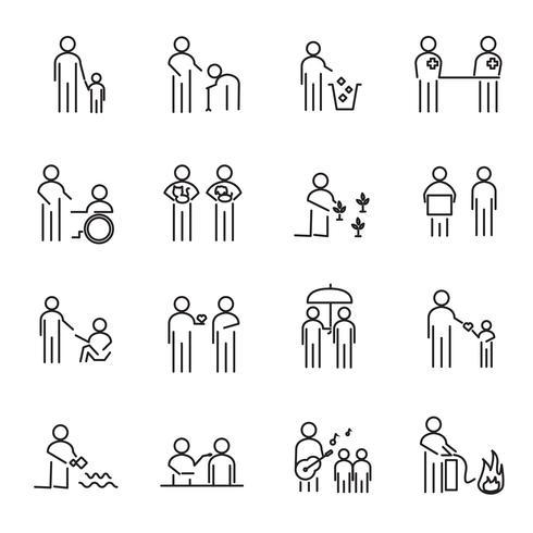 Maatschappelijk verantwoord ondernemen mensen dunne lijn pictogrammenset vector. MVO-liefdadigheidsproject voor het helpen van mensen een wereldbegrip. Teken en symboolthema. Witte geïsoleerde achtergrond. Illustratie vector.