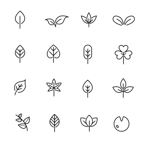 Leaf Icon Set Vector Nature And Symbol Concept Thin Line